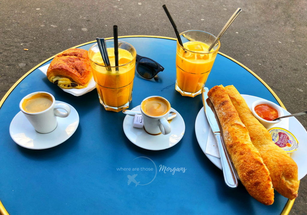 Typical Parisian breakfast with coffee and croissants