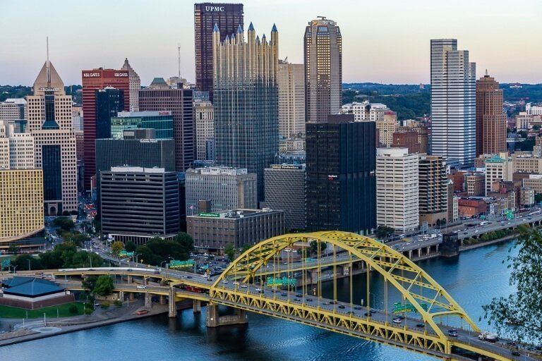 Downtown Pittsburgh Pennsylvania from an overlook tell the banks so your credit cards don't get blocked!