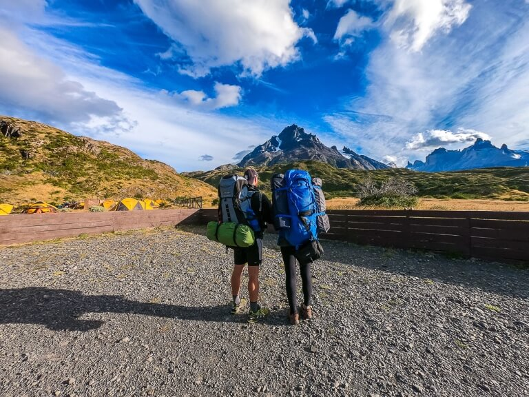 W trek in patagonia chile mark and kristen with backpacks on