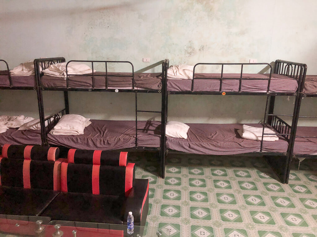 Gross dorm beds in a hostel in Vietnam