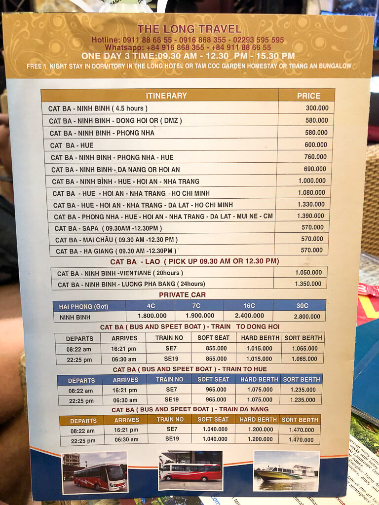 Schedule for sleeper bus in Vietnam