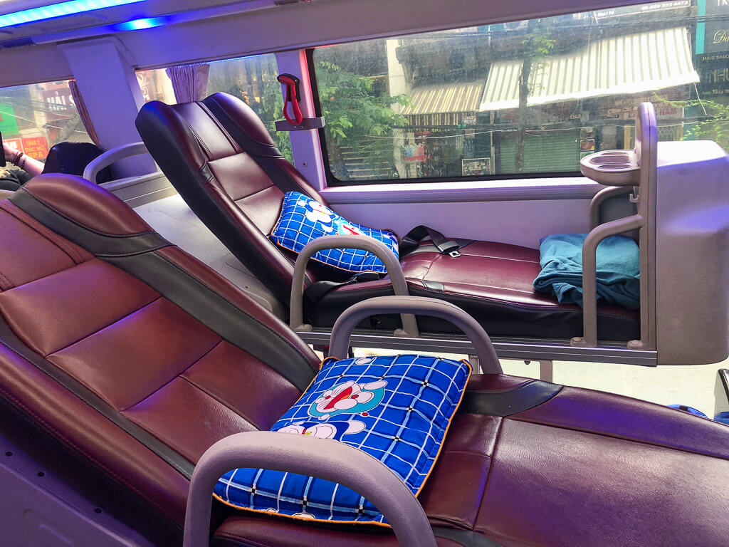 Seats on a sleeper bus in Vietnam