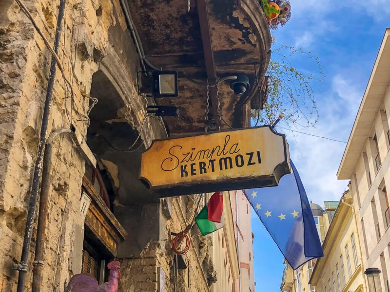 Szimpla Kert sign at entrance Ruin Bar