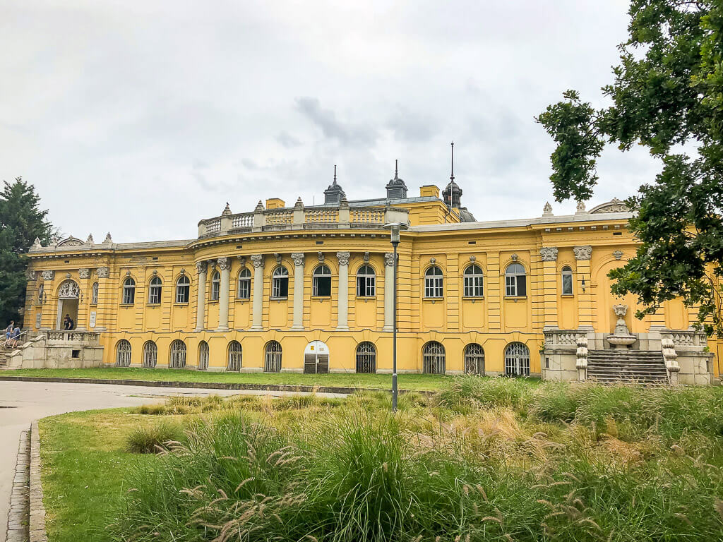 exterior view of szechenyi thermal baths budapest