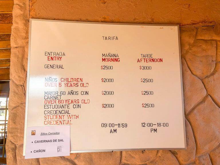 valle de la luna entrance price list and salt cavern closed