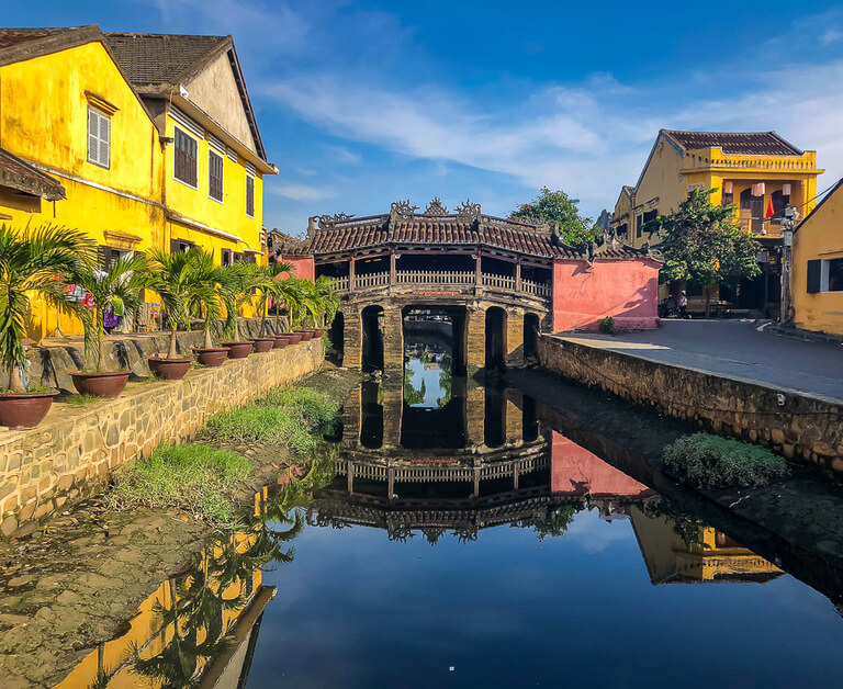 Beautiful Japanese bridge in Hoi An vietnam colors reflecting off water