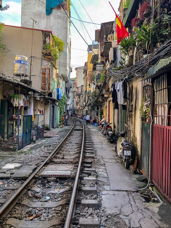 Hanoi Train Street empty track close to houses