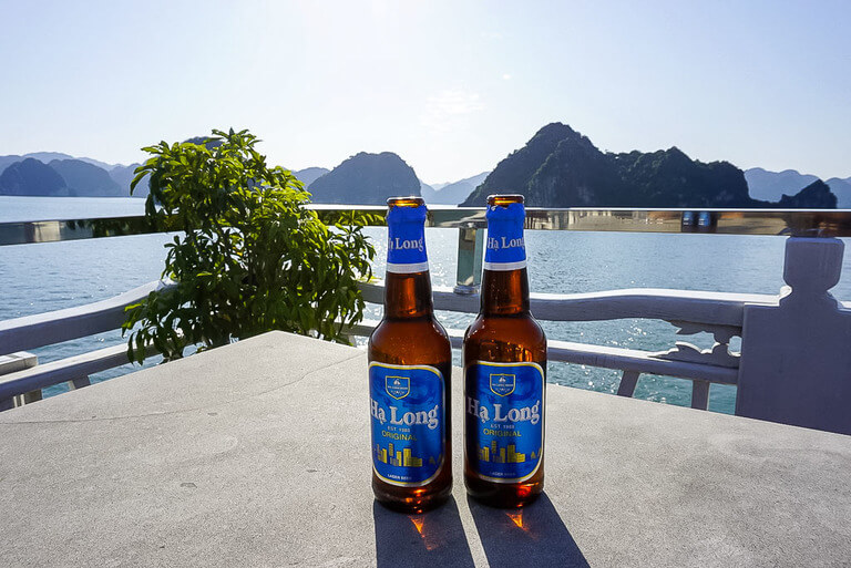 Halong beer on table of cheap cruise in the bay