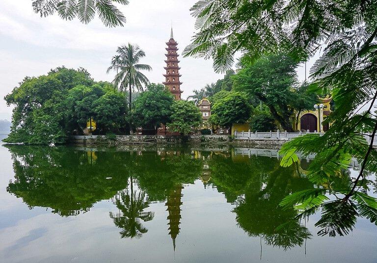 Pagoda in Hanoi first stop of 3 week Vietnam Itinerary