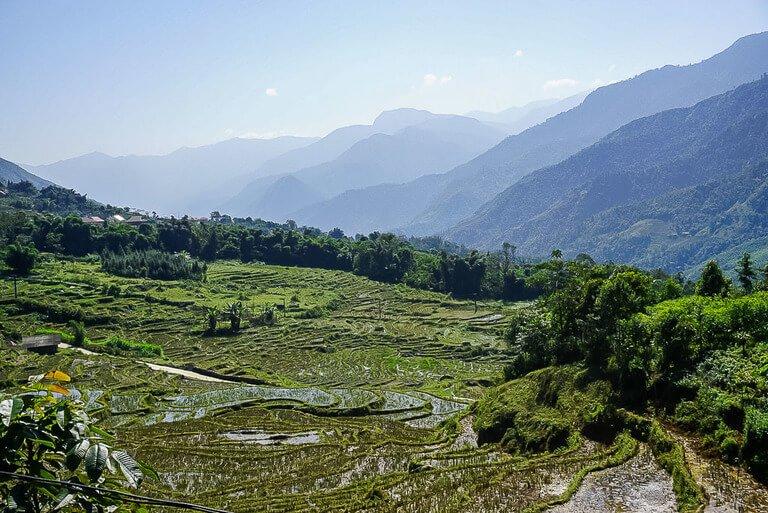 Lush green valleys in Sapa Vietnam