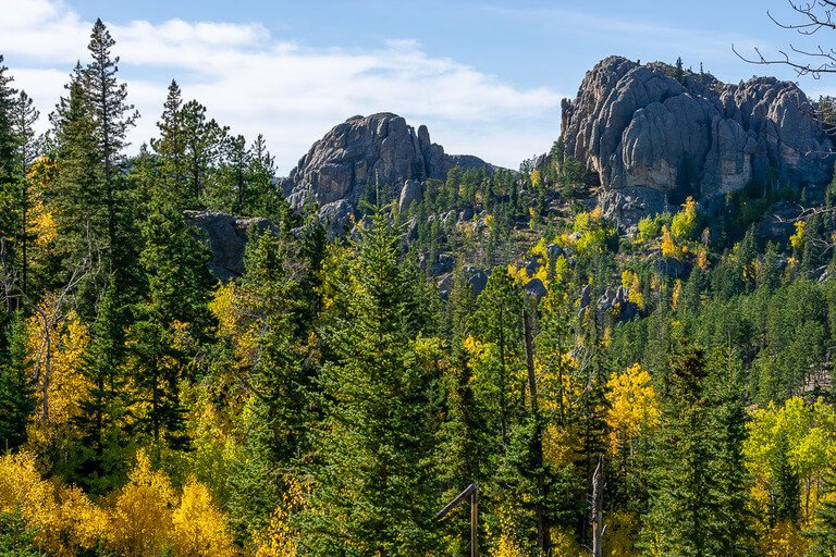 5 awesome things to do in Custer state park granite rocks with green yellow and orange trees