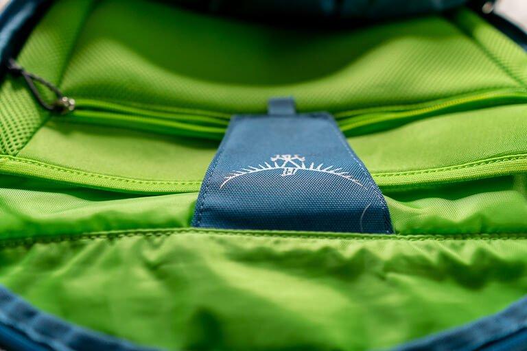 Close up of velcro laptop sleeve cover inside Osprey backpack
