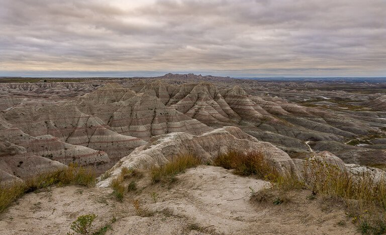 Badlands wilderness overlook at sunset
