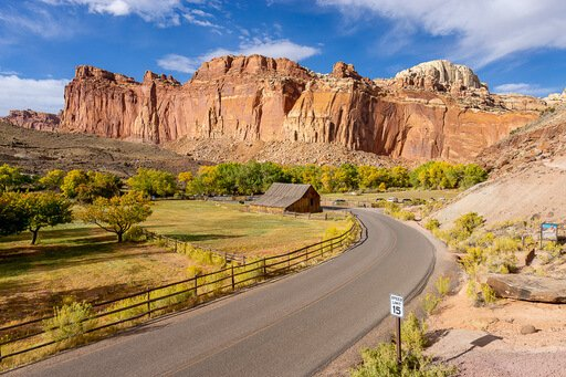 Wide shot of fruita barn from afar Capitol Reef