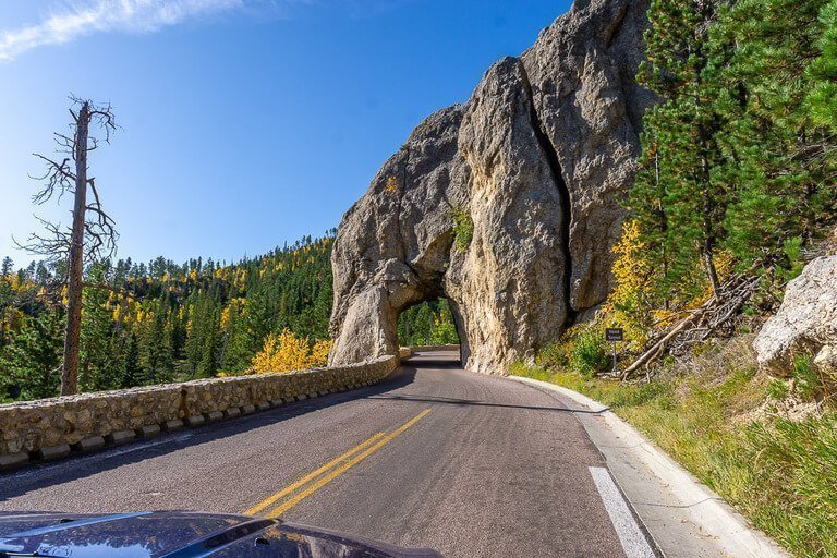 Hood tunnel on needles highway in Custer state park things to do near Mount Rushmore on South Dakota road trip itinerary