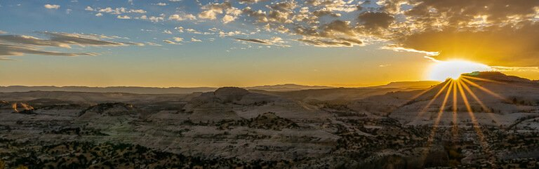 Sunset on highway 12 panorama