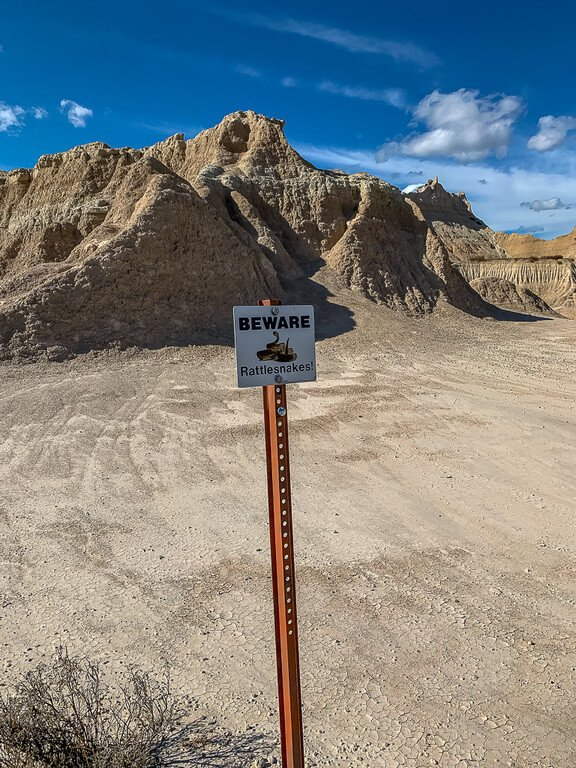 Rattlesnake beware sign at badlands national park