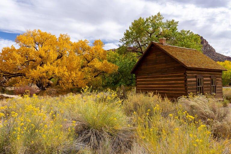 Wooden building fruita communal schoolhouse Capitol Reef Utah