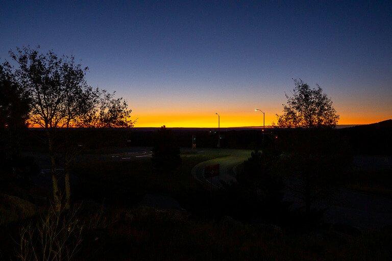 Dim yellow glow sunrise in South Dakota