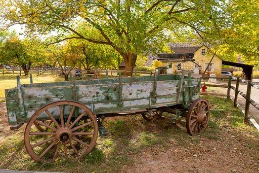 Old green wagon with iron wheels Gifford homestead