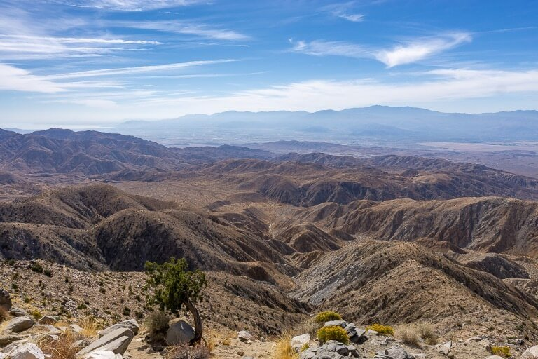 Spectacular scenery from Keys View across Coachella Valley and San Andreas fault line on Joshua Tree day trip