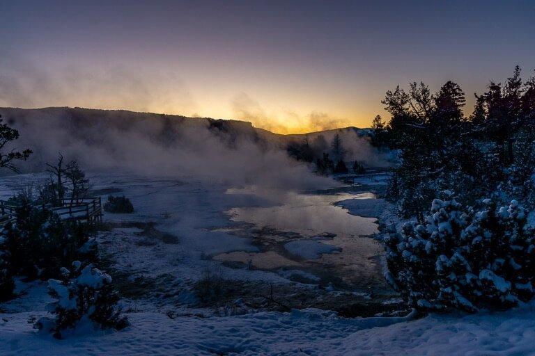 Mammoth Hot Springs upper terrace at sunrise