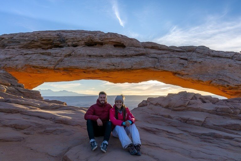 Mark and Kristen where are those Morgans at mesa arch for sunrise in Canyonlands national park Utah
