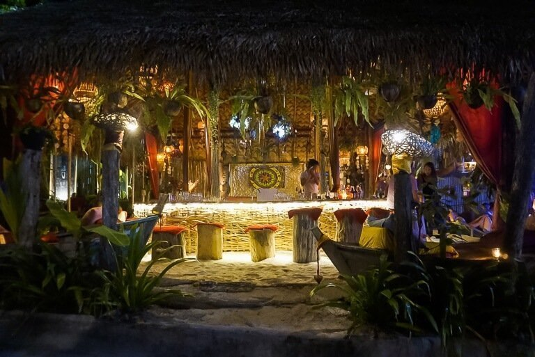 Maya bar lit up in the evening