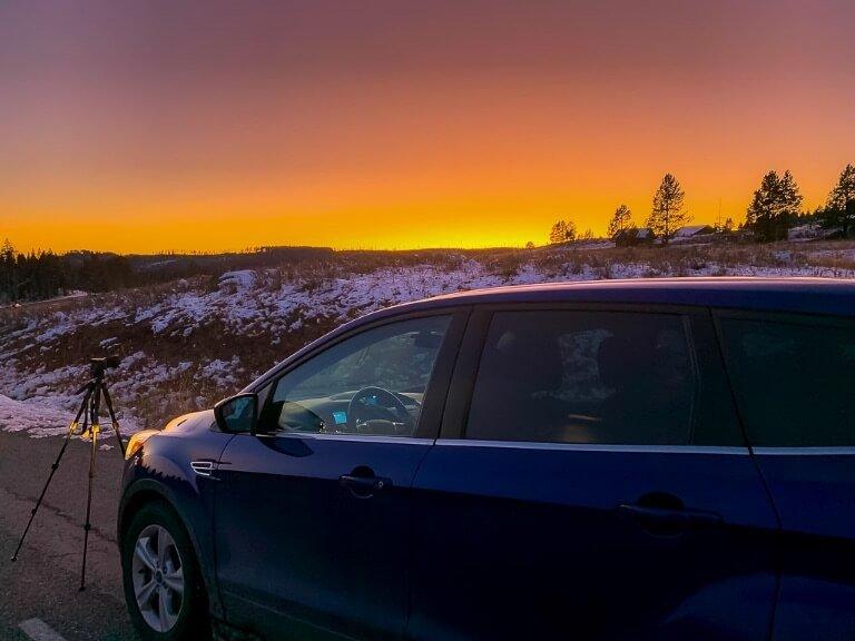 Where are those Morgans car and camera at sunset yellowstone 4 days national park itinerary