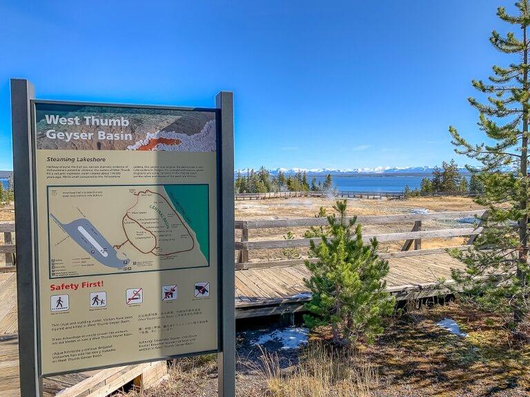 Signpost west thumb geyser basin yellowstone