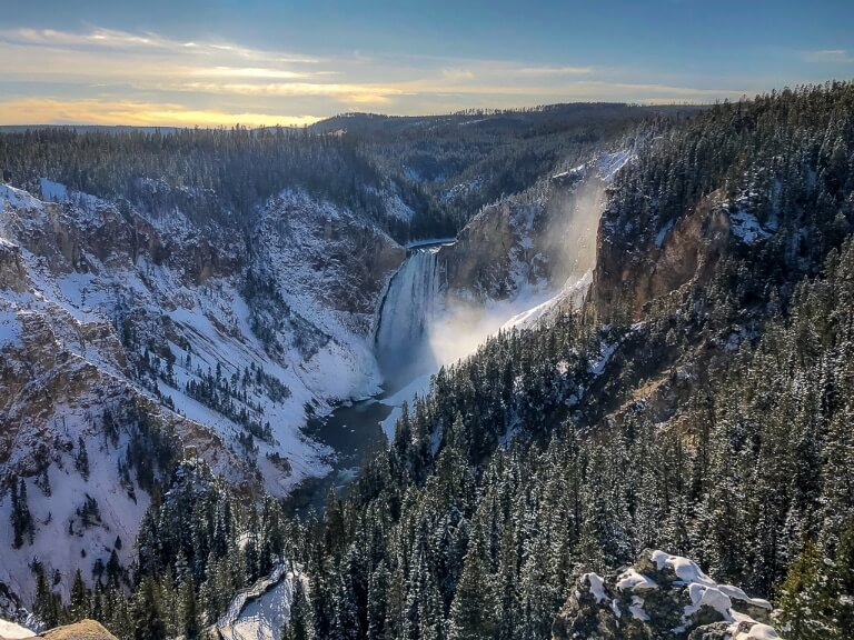 Yellowstone Lower Falls Grand Canyon of Yellowstone before dusk stunning valley 4 days itinerary