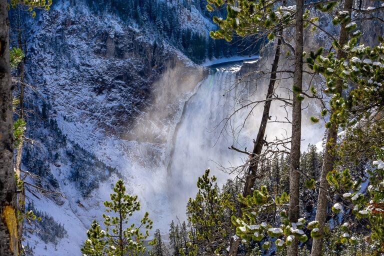 Yellowstone lower falls close up daytime