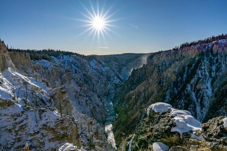 Yellowstone Lower falls Grand Canyon sunburst
