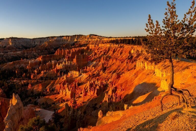 Bryce Canyon sunrise over amphitheater gorgeous bright red glow