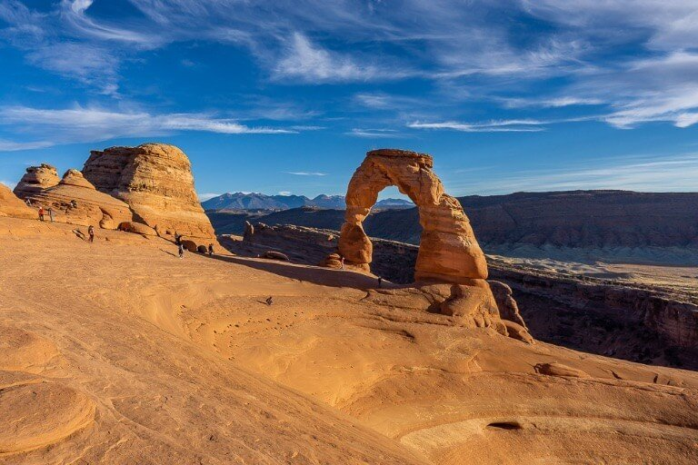 Awesome view of delicate arch and bowl wide angle showing topography perfectly