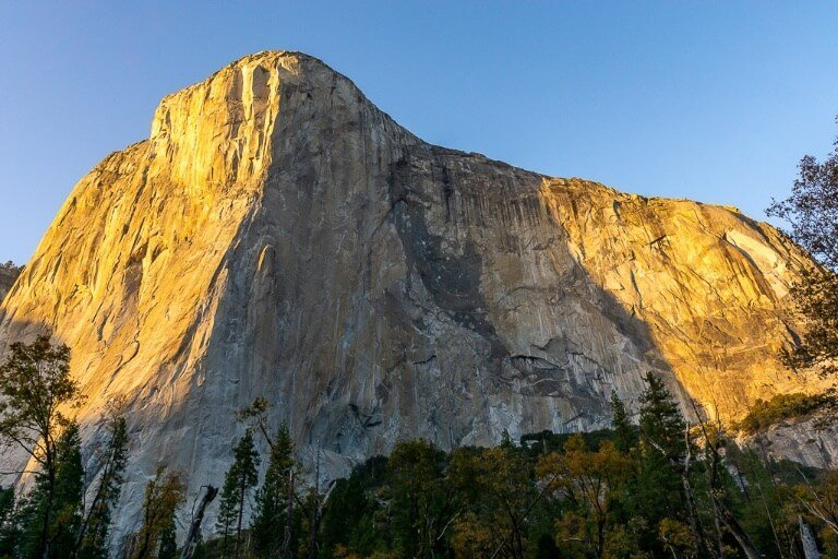 majestic El Capitan illuminated at sunset