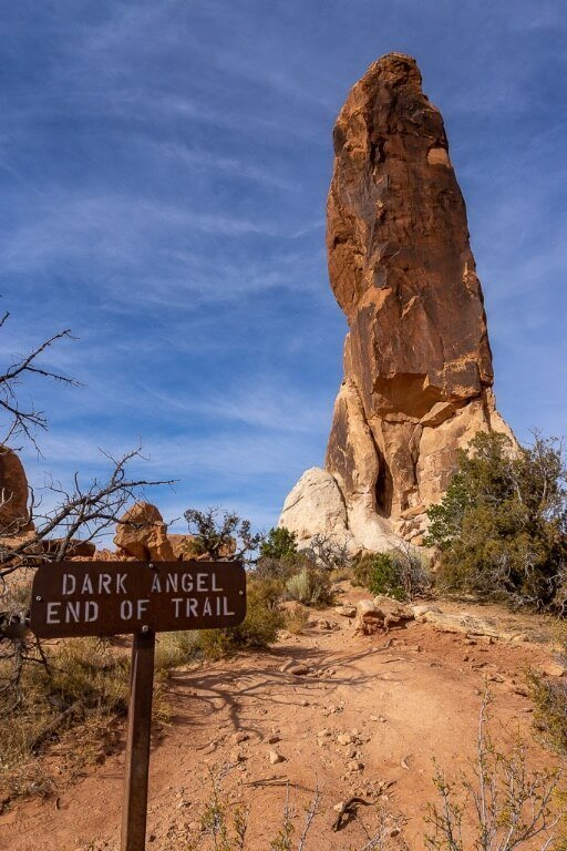 Dark angel rock spire end of devil's garden loop trail at arches national park