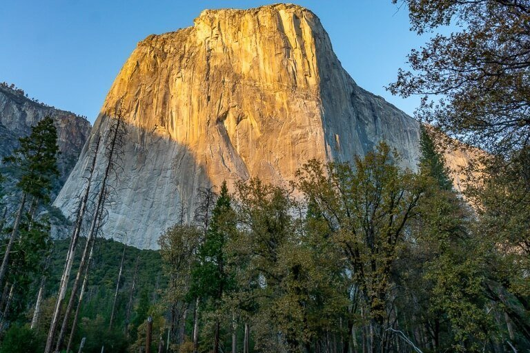 front view of El Capitan at sunset