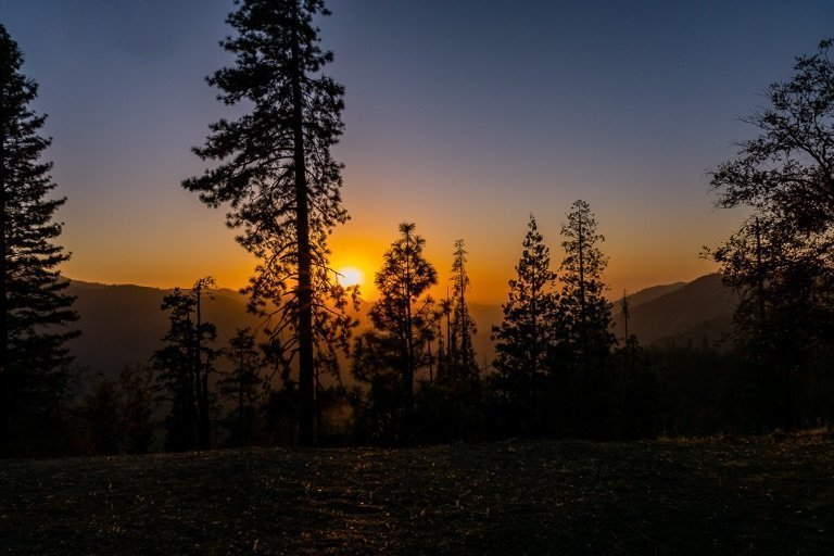 Hazy sunset in yosemite national park california