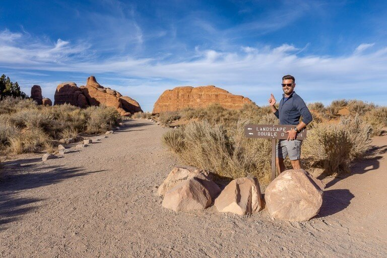 Mark couldn't help but do a James Bond 007 impression with double 00 arch at arches national park Utah