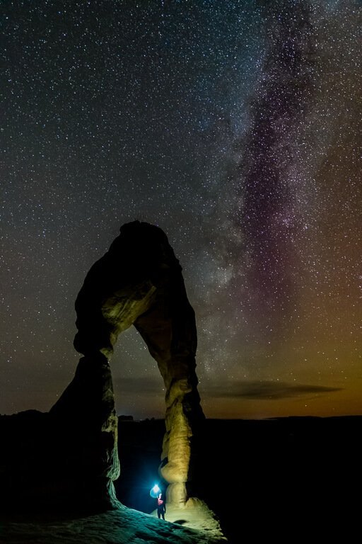 Delicate Arch astrophotography stars clear night sky in Moab Utah