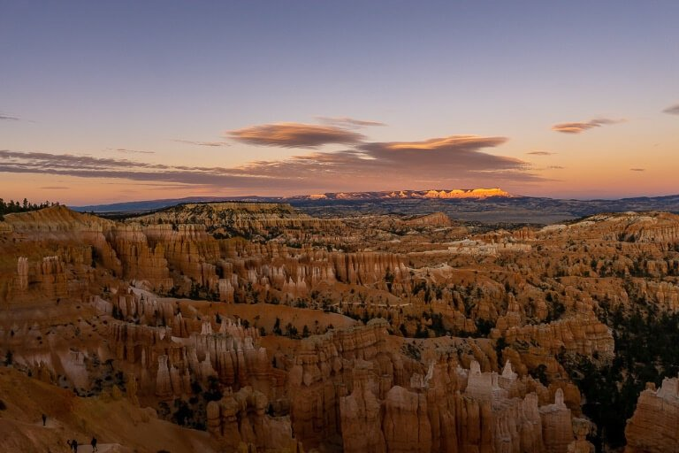 Bryce Canyon amphitheater at sunset with purple sky