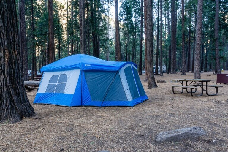 tent in upper pines campground Yosemite national park in trees