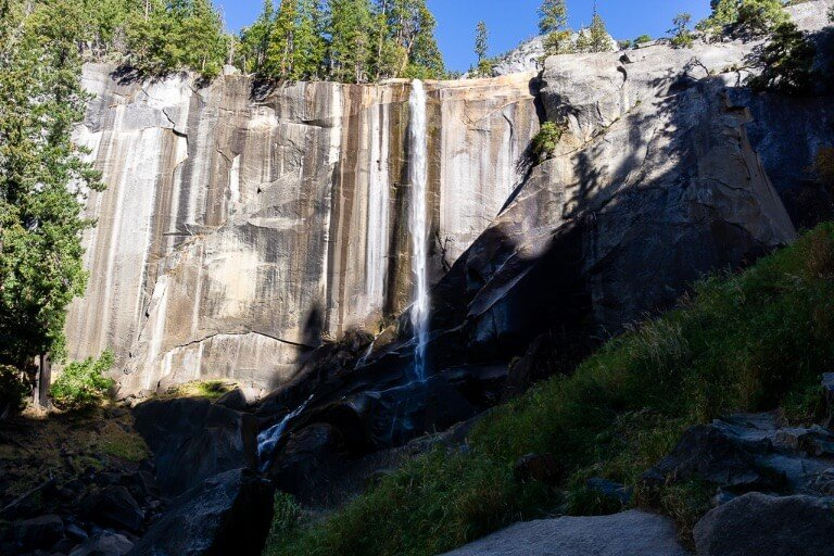 Vernal Falls almost dry in October and half in shadow