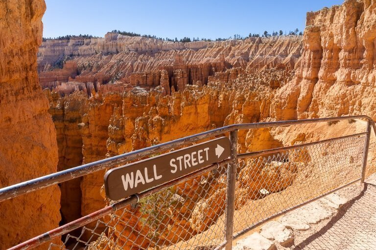 Wall Street sign post surrounded by hoodoo's in national park Utah