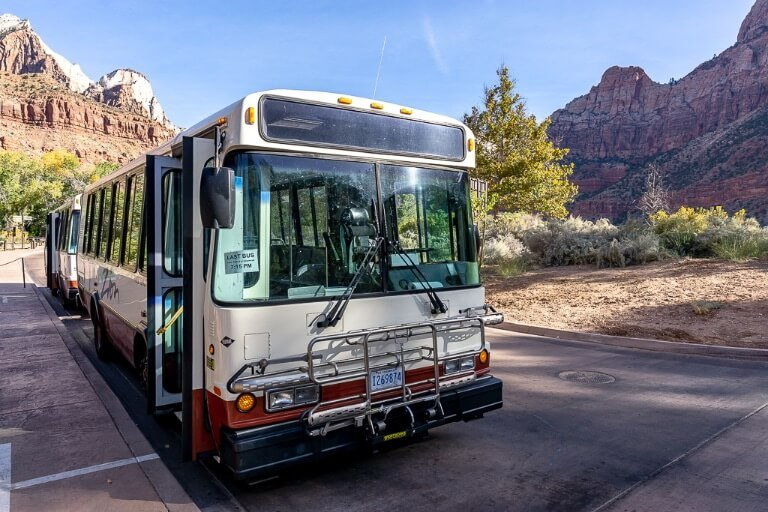 Zion shuttle bus at Zion visitor center heading into the canyon