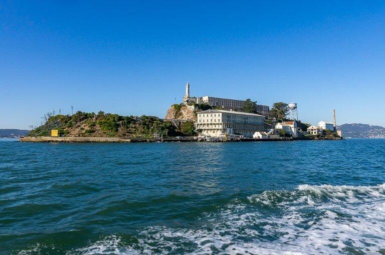 Alcatraz Island from the ferry in San Francisco bay