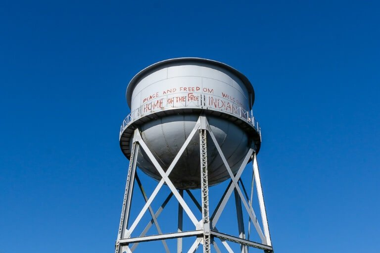 Native Americans occupy Alcatraz for 19 months graffiti water tower