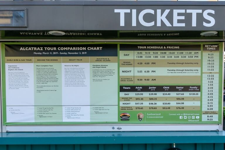 Ticket price board and ferry schedule for Alcatraz tour San Francisco