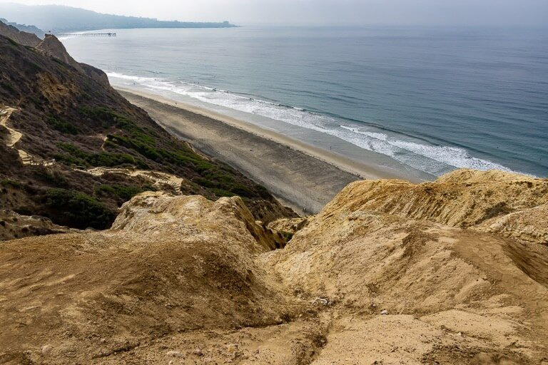 View over black's beach in San Diego coastline and rocky headland